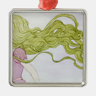Rapunzel Adorno Navideño Cuadrado De Metal