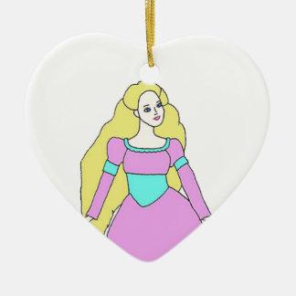 Rapunzel Adorno Navideño De Cerámica En Forma De Corazón