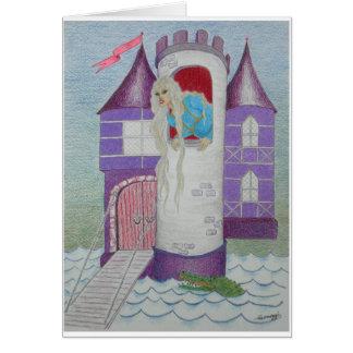 Rapunzel caprichoso en castillo--Orig. Arte Tarjeta De Felicitación