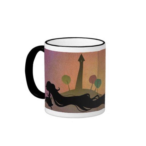 Rapunzel en la taza de la puesta del sol