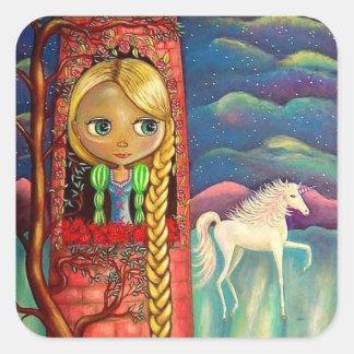 Rapunzel en torre rosada con el amigo del pegatina cuadrada