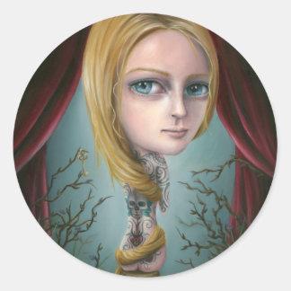 Rapunzel los pegatinas del chica del tatuaje pegatina redonda