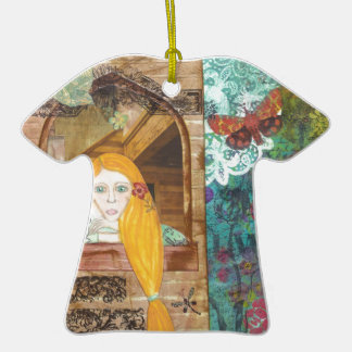 Rapunzel, soñando adorno de cerámica en forma de camiseta