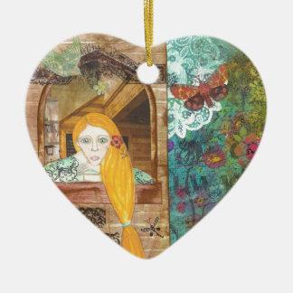 Rapunzel, soñando adorno navideño de cerámica en forma de corazón