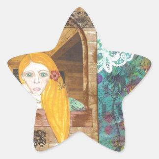 Rapunzel, soñando pegatina en forma de estrella