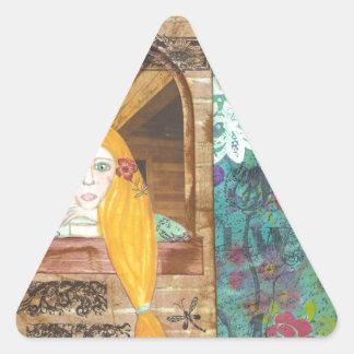 Rapunzel, soñando pegatina triangular