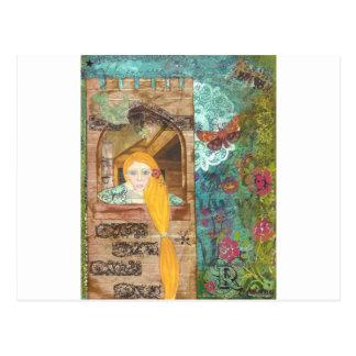 Rapunzel, soñando postal