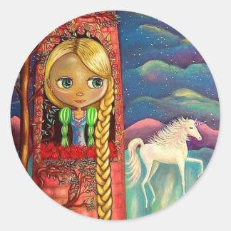 Rapunzel y el pegatina del unicornio