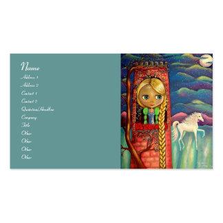 Rapunzel y unicornio tarjetas de visita