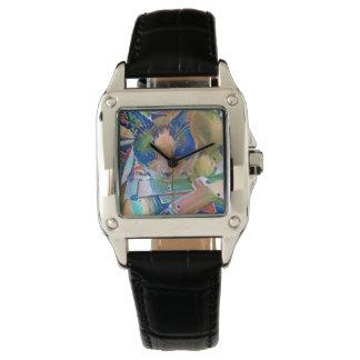 raqueta que hace el gatito a mano reloj de pulsera