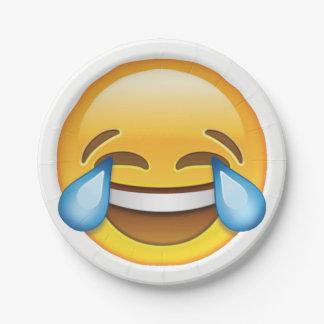 Rasgones gritadores de risa del emoji de la plato de papel