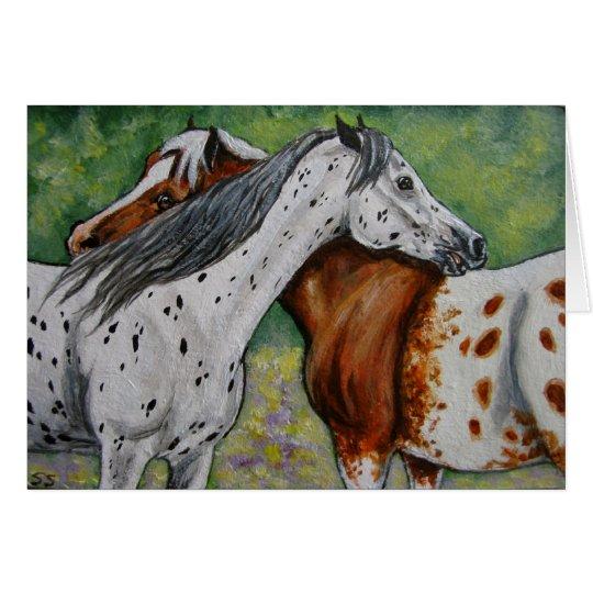 Rasguñe mi parte posterior, caballos del Appaloosa Tarjeta De Felicitación