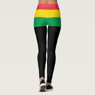 Rasta colorea el modelo rojo amarillo verde de la leggings