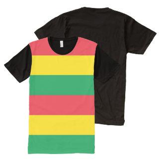 Rasta colorea el modelo rojo amarillo verde de las camiseta con estampado integral