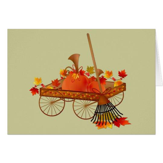 Rastrillo de saludos del otoño de las hojas tarjeta de felicitación
