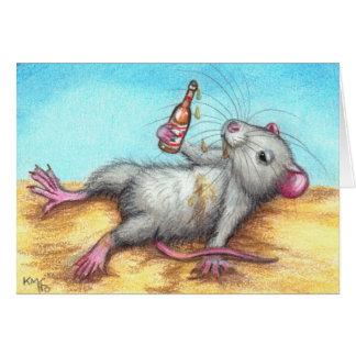 Rata borracha con la tarjeta de la cerveza
