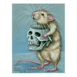 Rata con la postal de Halloween del cráneo