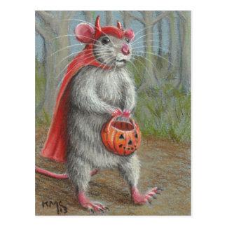 Rata en la postal de Halloween del traje del
