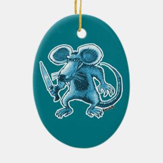 rata enojada con contorno del azul del cuchillo adorno de cerámica