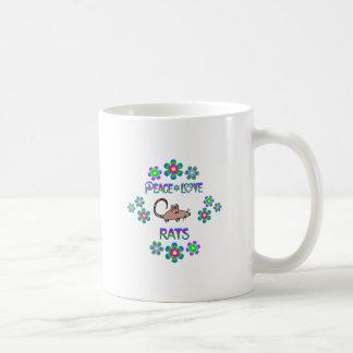 Ratas del amor de la paz taza de café