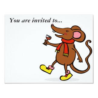 Ratón alegre invitación 10,8 x 13,9 cm