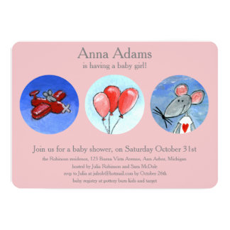 Ratón, avión y globos para Babygirl Invitación 12,7 X 17,8 Cm