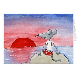 Ratón de la puesta del sol que desea la tarjeta
