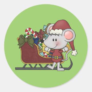 Ratón de Santa con el trineo Etiqueta Redonda