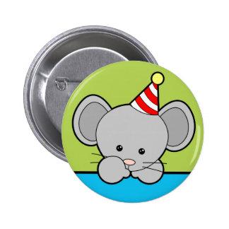 Ratón del cumpleaños chapa redonda 5 cm