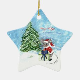 Ratón del navidad adorno navideño de cerámica en forma de estrella