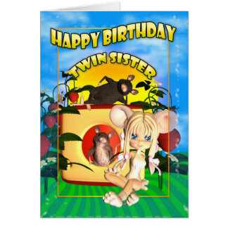 Ratón gemelo de la empanada del cutie de la tarjeta de felicitación
