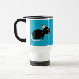 Ratón negro taza de viaje