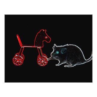 ratón que toca el esquema del caballo rodado tarjetón