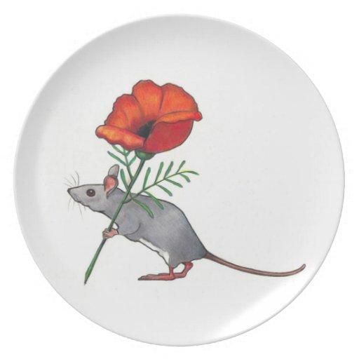 Ratón Toting la flor roja grande: Lápiz del color Platos De Comidas