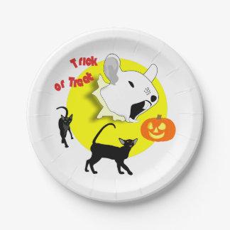 Ratón y gatos de la calabaza de Halloween Plato De Papel