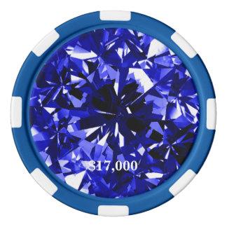 Raya azul de la ficha de póker de la piedra de fichas de póquer