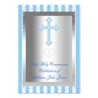 Raya azul de la primera plata de la comunión santa invitación 8,9 x 12,7 cm