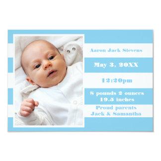 Raya azul y blanca - invitación del nacimiento 3x5