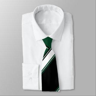 Raya blanca e imperecedera negra de la universidad corbata