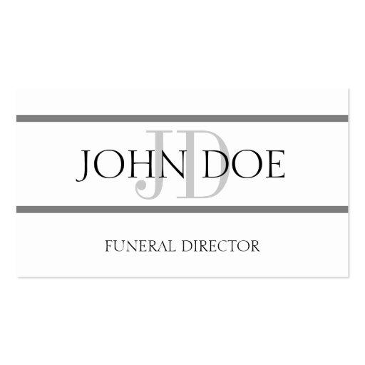 Raya blanca/gris del director de funeraria plantillas de tarjetas personales