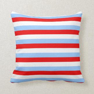 Raya blanca y azul clara roja cojín decorativo