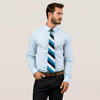 Raya casual del blanco del negro azul de la raya corbata personalizada