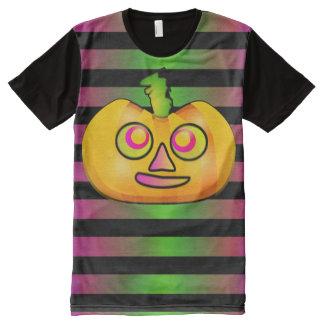 Raya linda fantasmagórica de la calabaza de camiseta con estampado integral