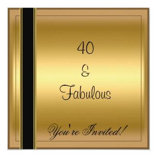 Raya negra fabulosa del cumpleaños del oro 40.a invitación 13,3 cm x 13,3cm