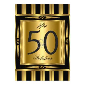 Raya negra fabulosa del oro de Deco de 50 Invitación 12,7 X 17,8 Cm
