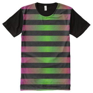 Raya negra púrpura verde fantasmagórica de camiseta con estampado integral