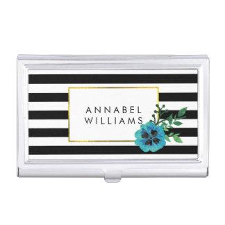 Raya negra y tenedor azul de la tarjeta de visita caja de tarjetas de visita
