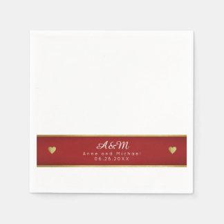 raya roja con monograma elegante en el boda blanco servilletas de papel