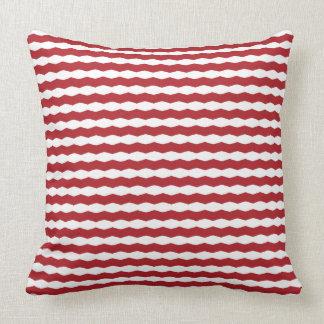 Raya roja y blanca de Chevron Cojín Decorativo