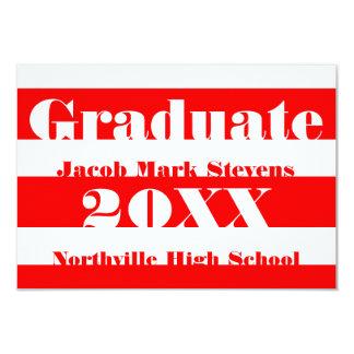Raya roja y blanca - invitación de la graduación